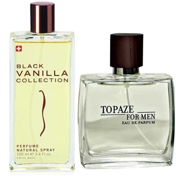 ادو پرفیوم استاویتا مدل Black Vanilla حجم 100 میلی لیتر به همراه ادو پرفیوم مردانه استاویتا مدل Topaze حجم 100 میلی لیتر